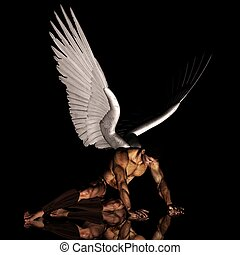 fallen muscular angel naked and nude