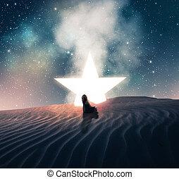 fallen, nästa, stjärna, sittande