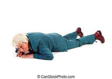 Fallen old woman - Old woman is fallen at the floor
