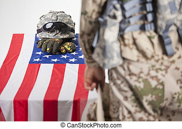 Military funeral - Fallen soldier - Military funeral in a...
