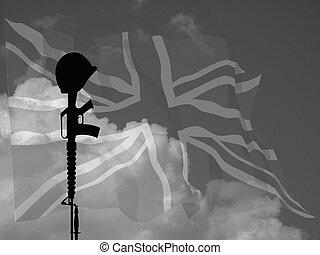 Fallen Soldier UK - Monochrome representation of fallen UK...