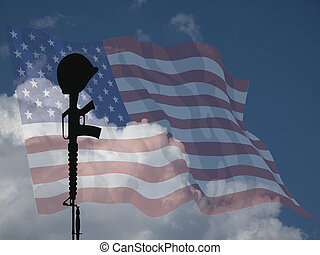 Representation of fallen USA service personnel against a cloudy blue sky