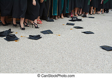 Fallen Square Academic Caps at Graduation Ceremony