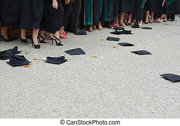 Fallen Square Academic Caps at Graduation Ceremony