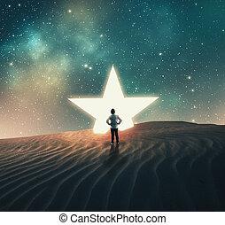 fallen, stjärna, öken