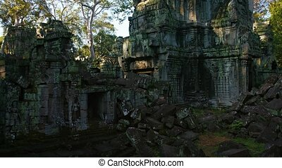 Fallen Stone Blocks and Walls of an Ancient Temple Ruin....