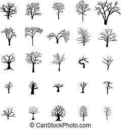 Fallen Tree silhouette set