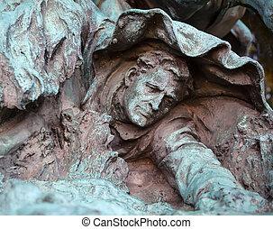 Fallen Union Calvary Man Horses Charging US Grant Statue Memoria