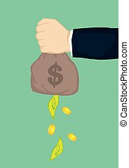 fallender , begriff, problem., oder, geld, bag., finanziell...