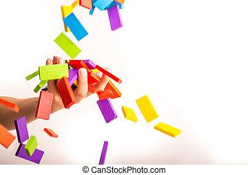 fallender , domino, bunte