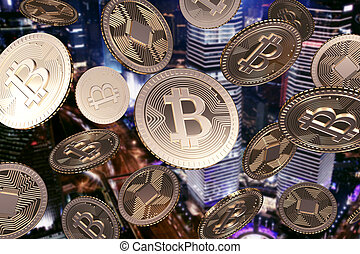 fallender , goldenes, bitcoins, in, nacht, stadt