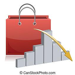 fallender , shoppen, verkauf, abbildung