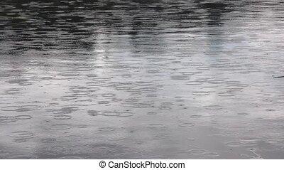fallender , tropfen, regen, see