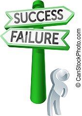 fallimento, concetto, o, successo