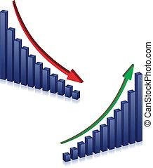 fallimento, crescita, affari, grafici