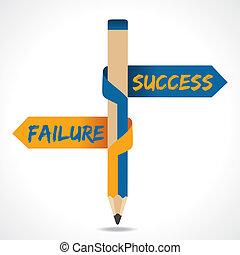 fallimento, &, freccia, successo, opposto