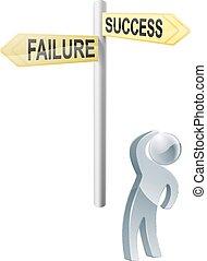 fallimento, o, successo, scelta