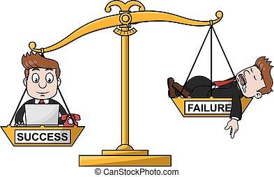 fallimento, successo, scala, affari