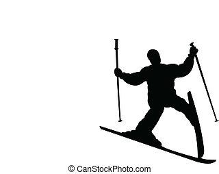 fallin, mislukking, ski, skiier