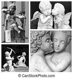 falling, в, люблю, коллаж, -, images, of, playing, cupids, and, целование,