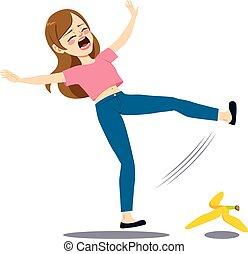 falling, женщина, банан, корка