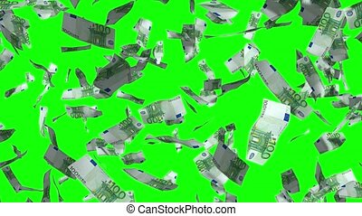 Falling 100 euro banknotes - 3D 4k animation - rain effect