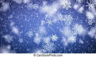 falling., 1080., looped, płatki śniegu, hd