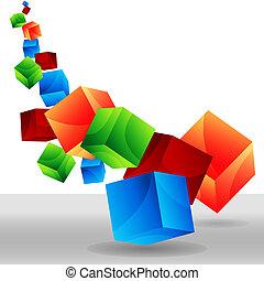 Falling 3D Cubes