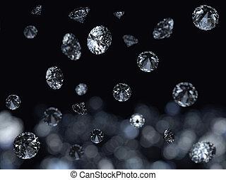 Falling 3D diamonds on black background