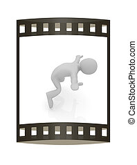 falling 3d man on white background