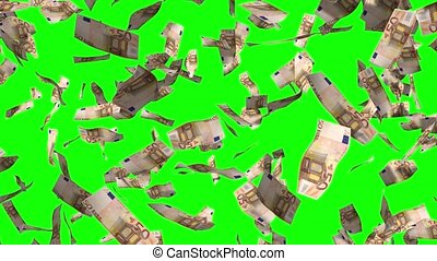 Falling 50 euro banknotes - 3D 4k animation - rain effect