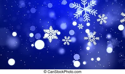 Falling Abstract Particles Snowflakes Star Animation on Blue dark Loop background.