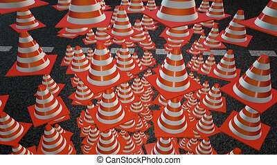 Falling abstract traffic cones