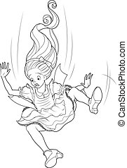 Falling Alice Coloring Page - Alice is falling down into the...