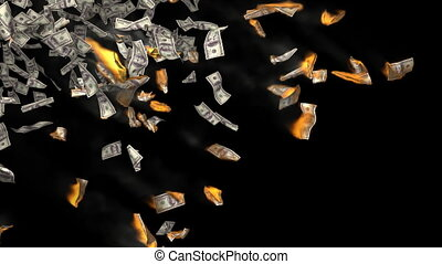 Falling and burning money. Finance 3d animation.