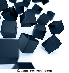 Falling and hitting dark blue cubes on a white background
