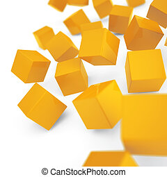 Falling and hitting yellow cubes on a white background