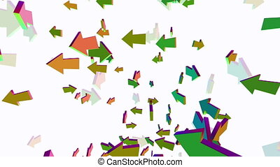 Falling and rotating arrows in various colors