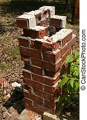 Falling apart - A picture of somebody's old BBQ chimney ...
