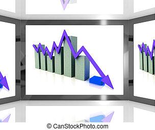 Falling Arrow On Screen Showing Decreasing Financial Chart