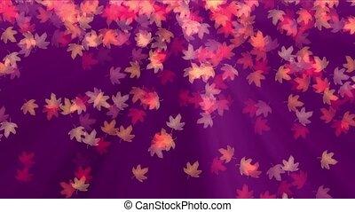 Falling autumn maple leaves realistic, 3d render 4k