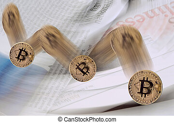Falling bitcoin cryptocurrency exchange rate on the blurred...