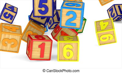 falling block with number on white background. Isolated 3D...