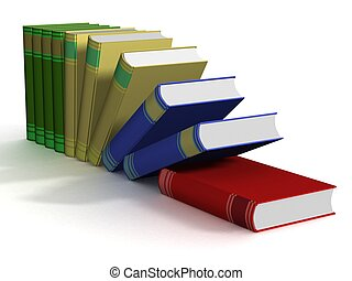 Falling books. 3D isolated image.