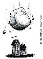 Falling Boulder - A cartoon house is threatened by a falling...