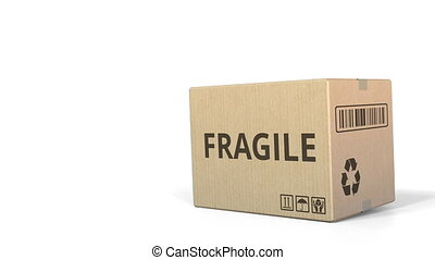 Falling box with FRAGILE inscription. 3D animation - Falling...