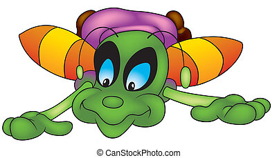 Falling Bug - Colored Cheerful Illustration, Vector
