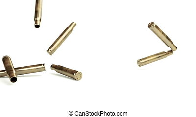 Falling bullet shells 3d animation with matrix effect