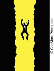 Graphic illustration of a businessman falling into long pit. Failure, bankruptcy, debt, risk in business concept