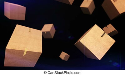 """Falling cardboard"" - ""Falling cardboard boxes on black..."